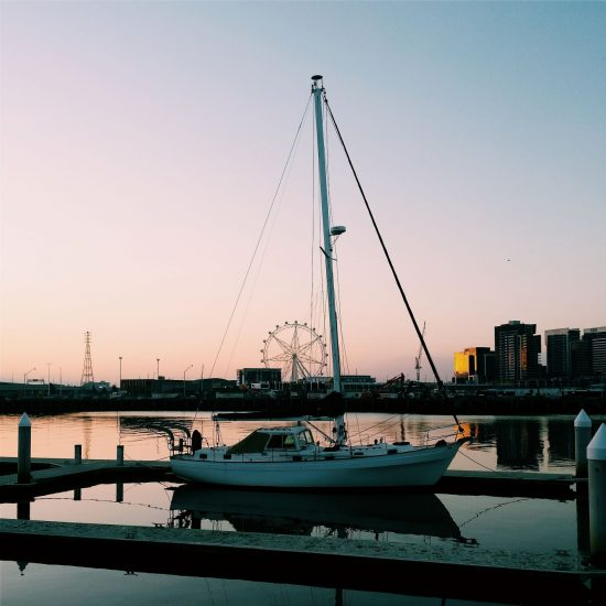 Sunset over the water in Docklands, Melbourne