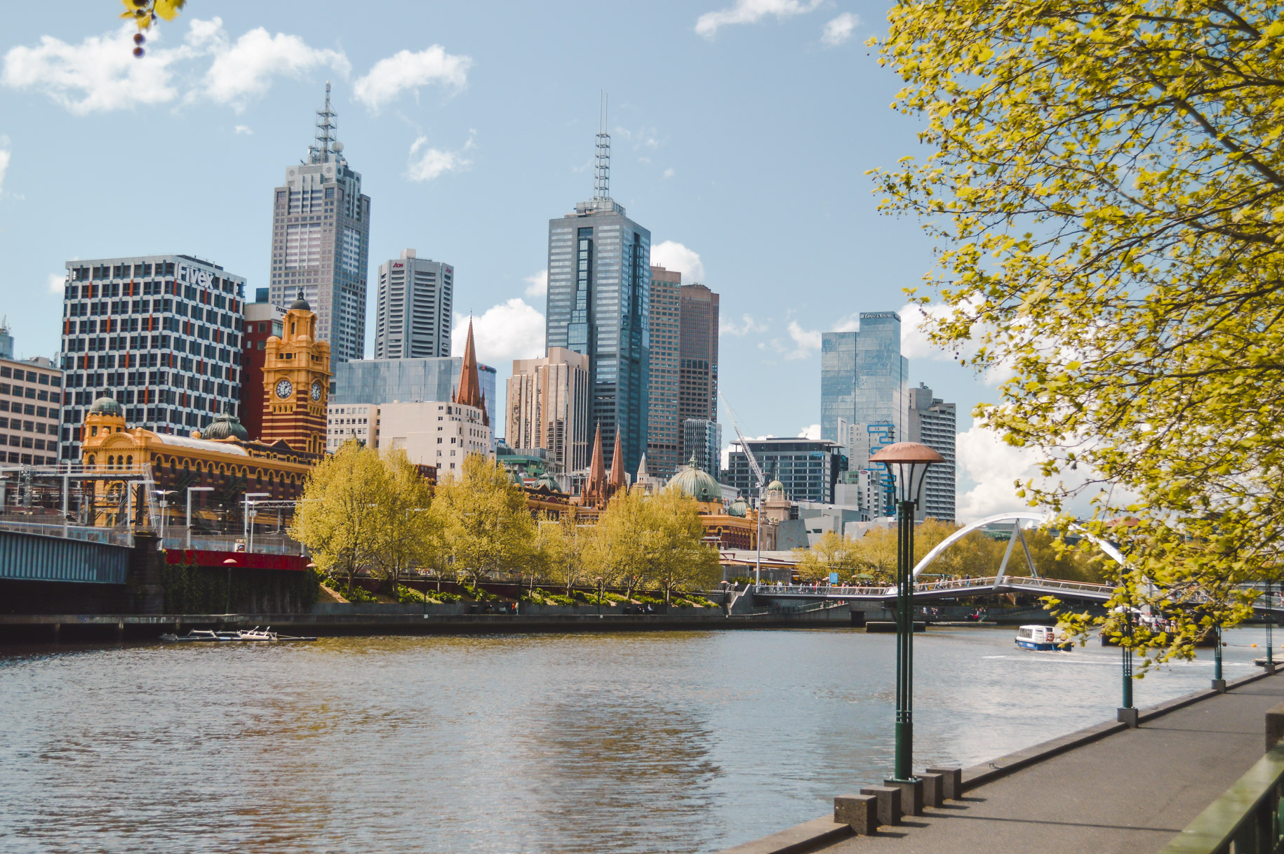 Move to Melbourne for views like this - looking across the Yarra River towards the Melbourne skyline.