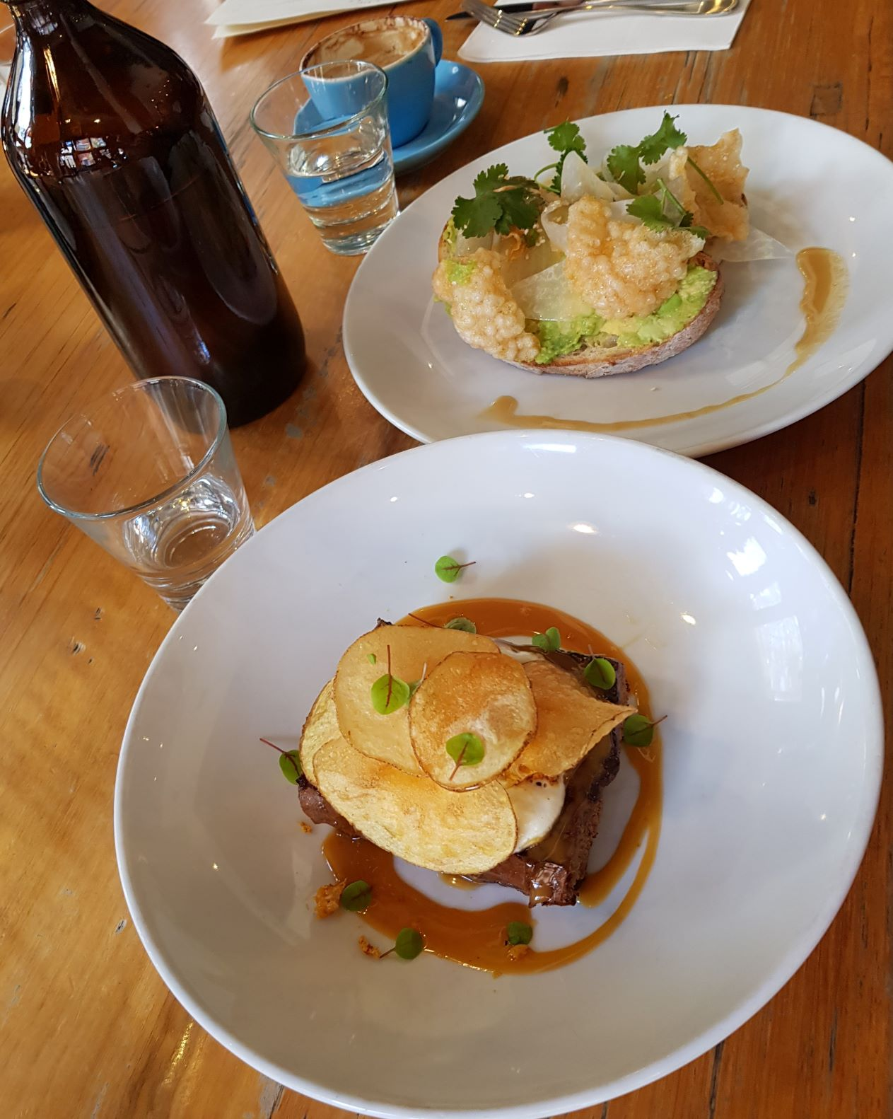 Two brunch dishes at Proud Mary in Collingwood, Melbourne