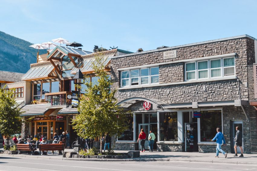 Banff's main shopping street in the Canadian Rockies