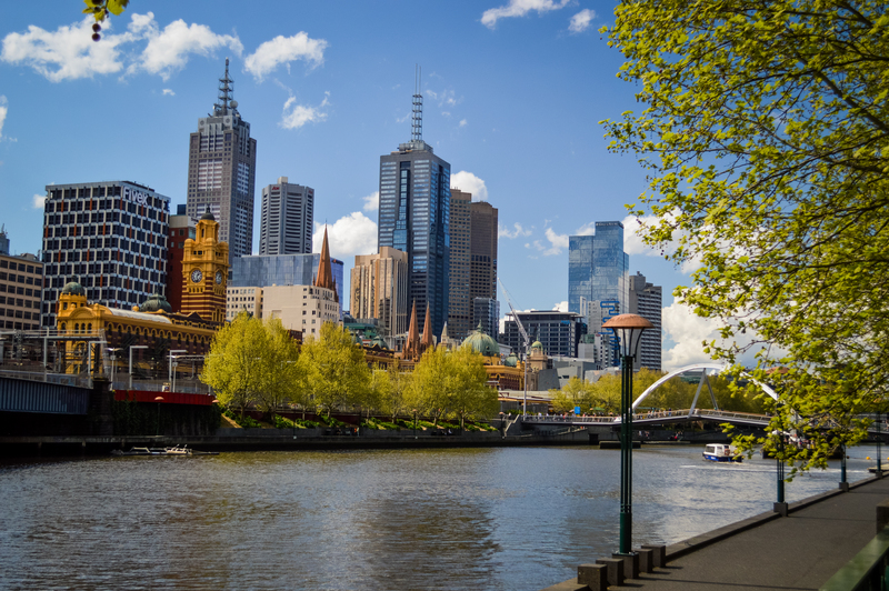 Melbourne Skyline from Southbank and across the Yarra River