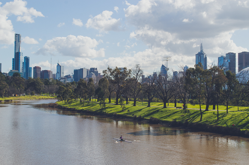 Skyline views from Melbourne's Morell Bridge over the Yarra River - one of the best views in Melbourne.