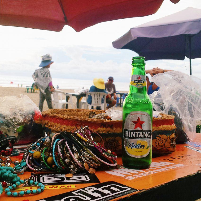 Having fun shopping and drinking on Legian Beach in Bali