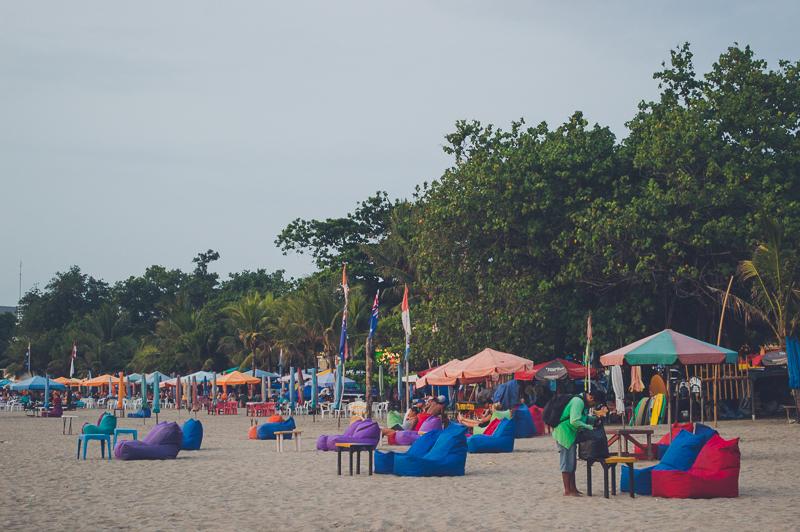 Beach bars on Legian Beach in Bali