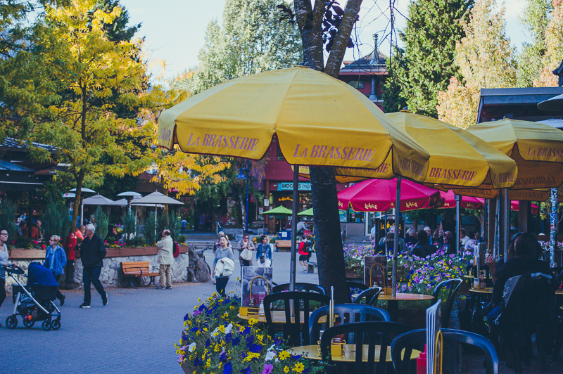 Yellow umbrellas at the outdoor patio at La Brasserie in Whistler, Canada.