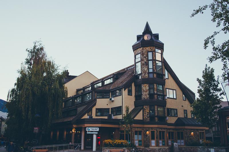 Rock facade buildings in Whistler, Canada