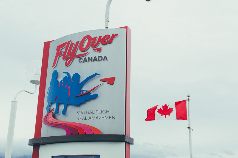 Sign for FlyOver Canada, one of the Vancouver's top attractions and a must-do with only one day in Vancouver.