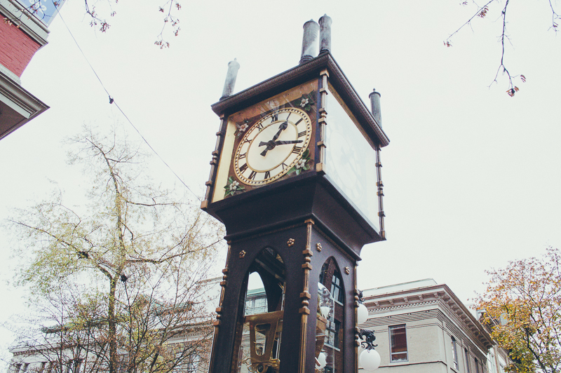 The iconic old Steam Clock in Gastown in Vancouver, Canada