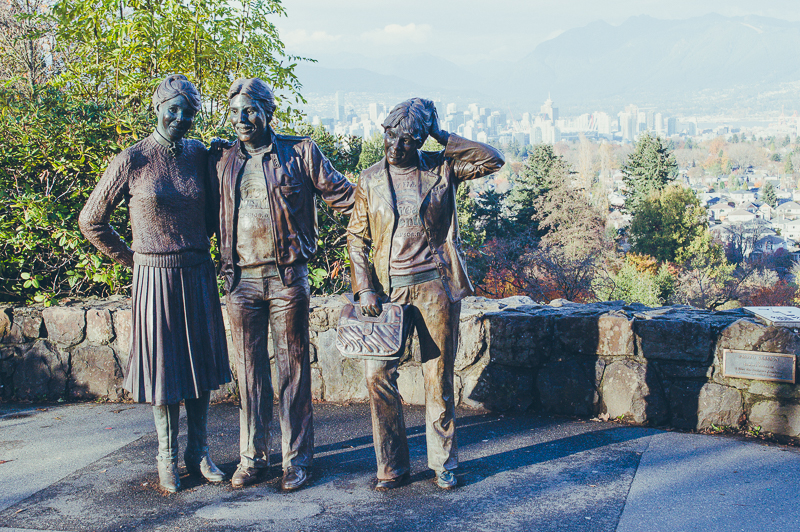 Statues and Vancouver skyline views from Queen Elizabeth Park