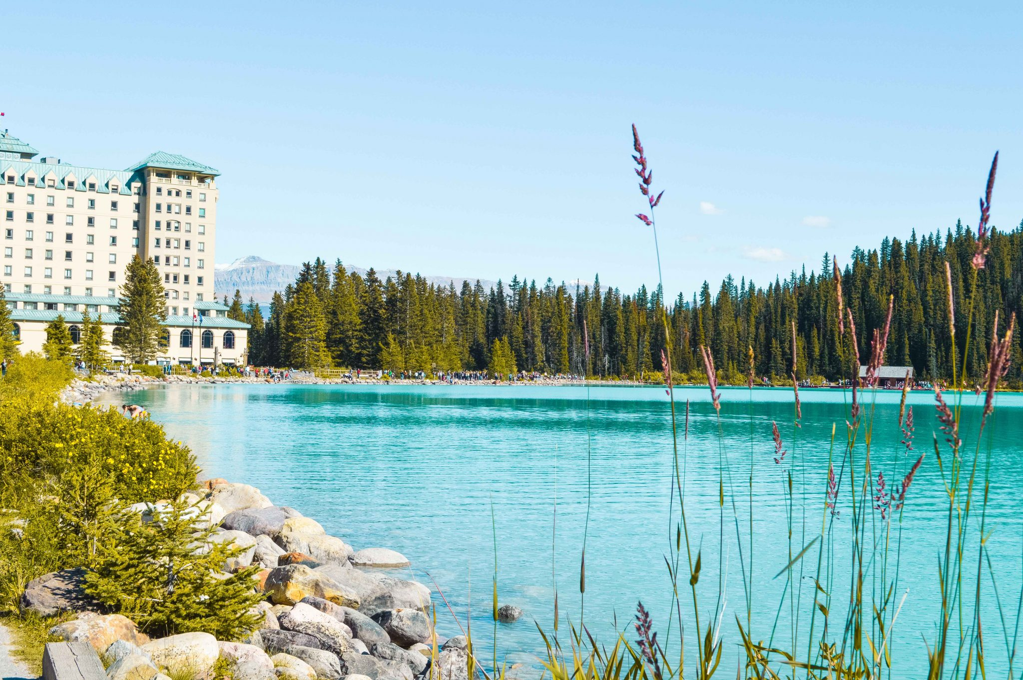 Looking over Lake Louise towards the Fairmont Chateau in the Canadian Rockies.