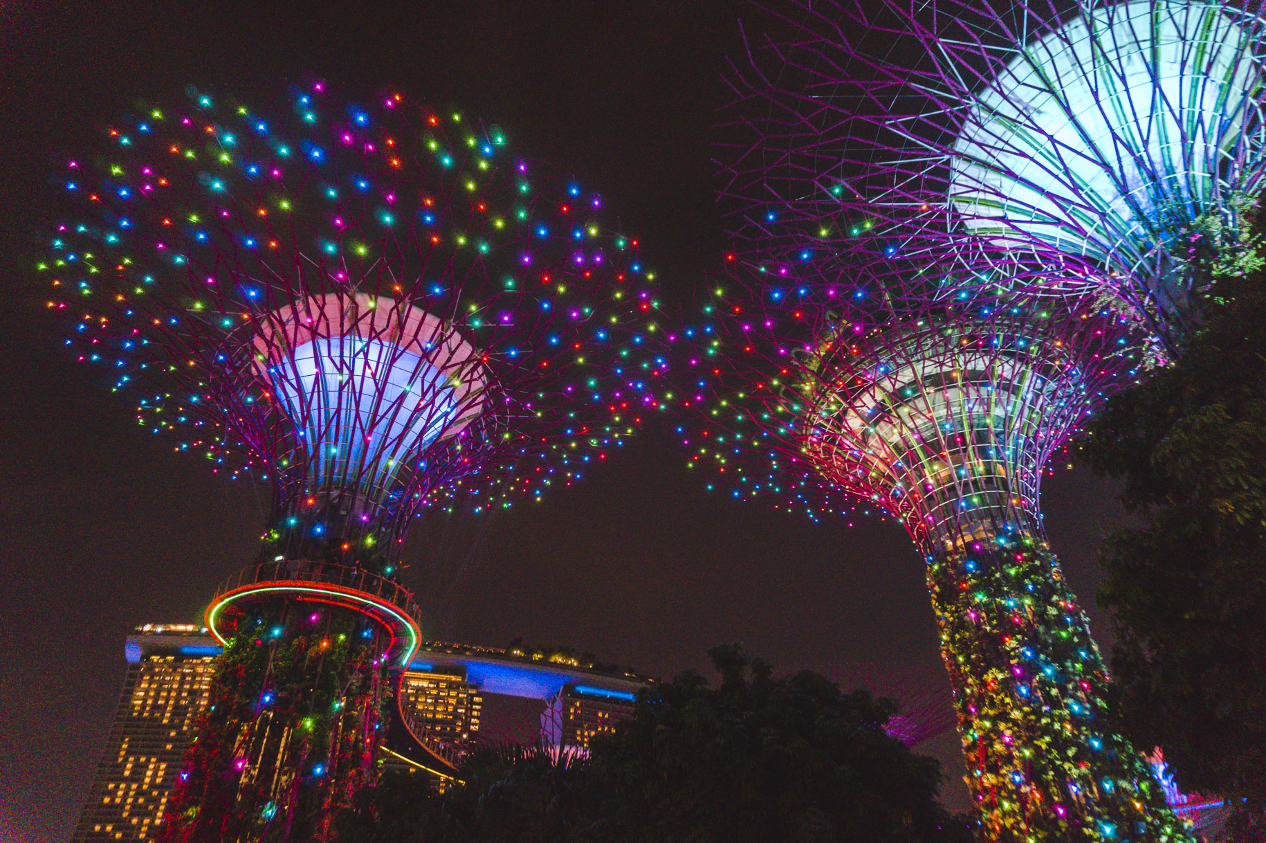 Singapore photos: Multi-coloured Supertree Grove at night in Gardens by the Bay is one of the best things to do in Singapore.