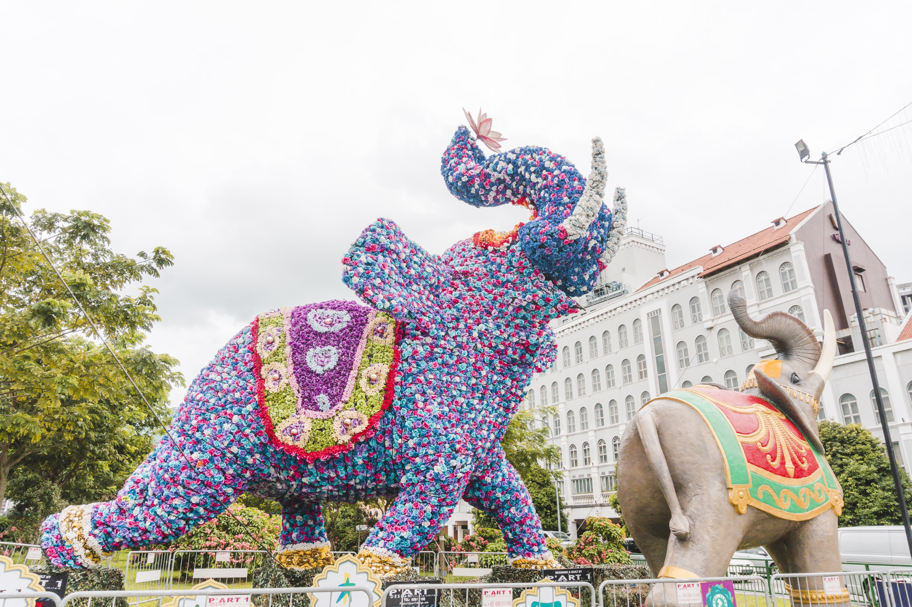 Colourful elephant statues in Little India in Singapore.