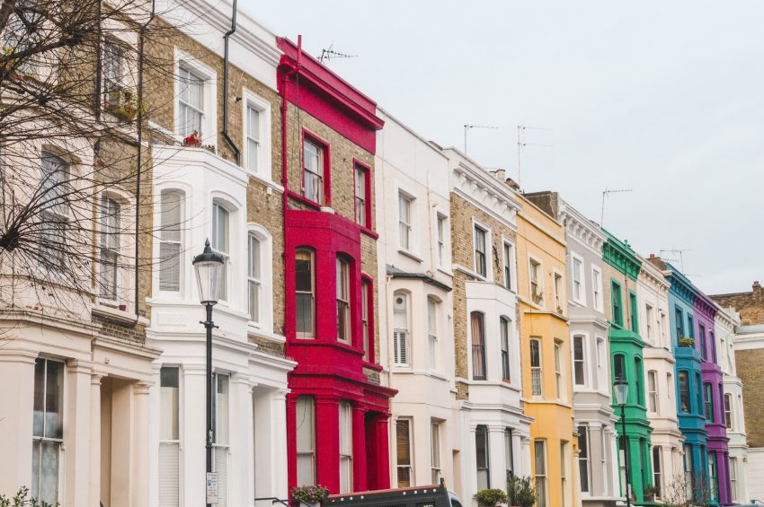 The colourful buildings of Notting Hill in London - one of the world's best solo travel destinations.