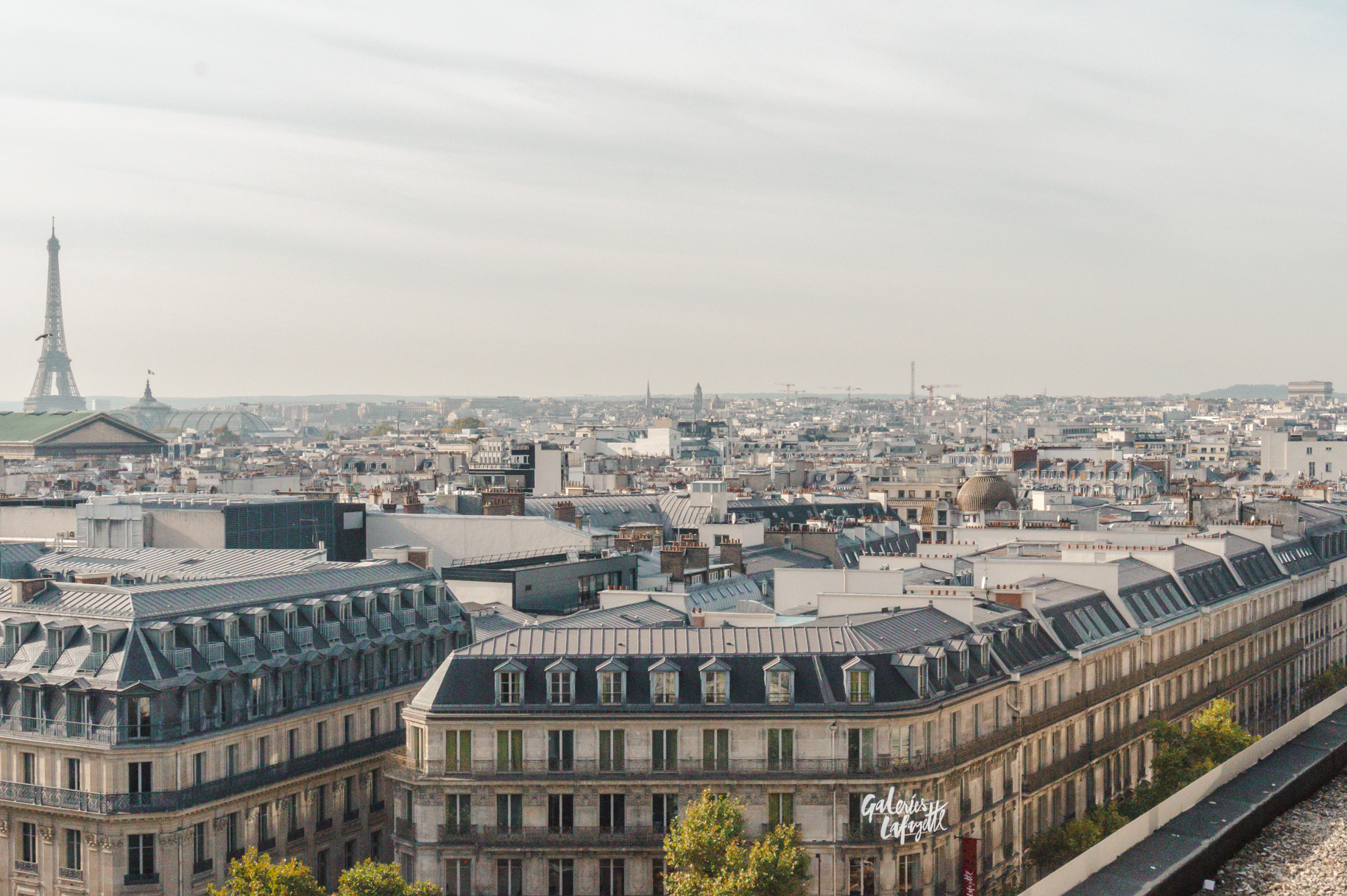 Eiffel Tower views from Galerie Lafayette's rooftop in Paris, one of my favourite solo travel destinations in Europe (and the world).