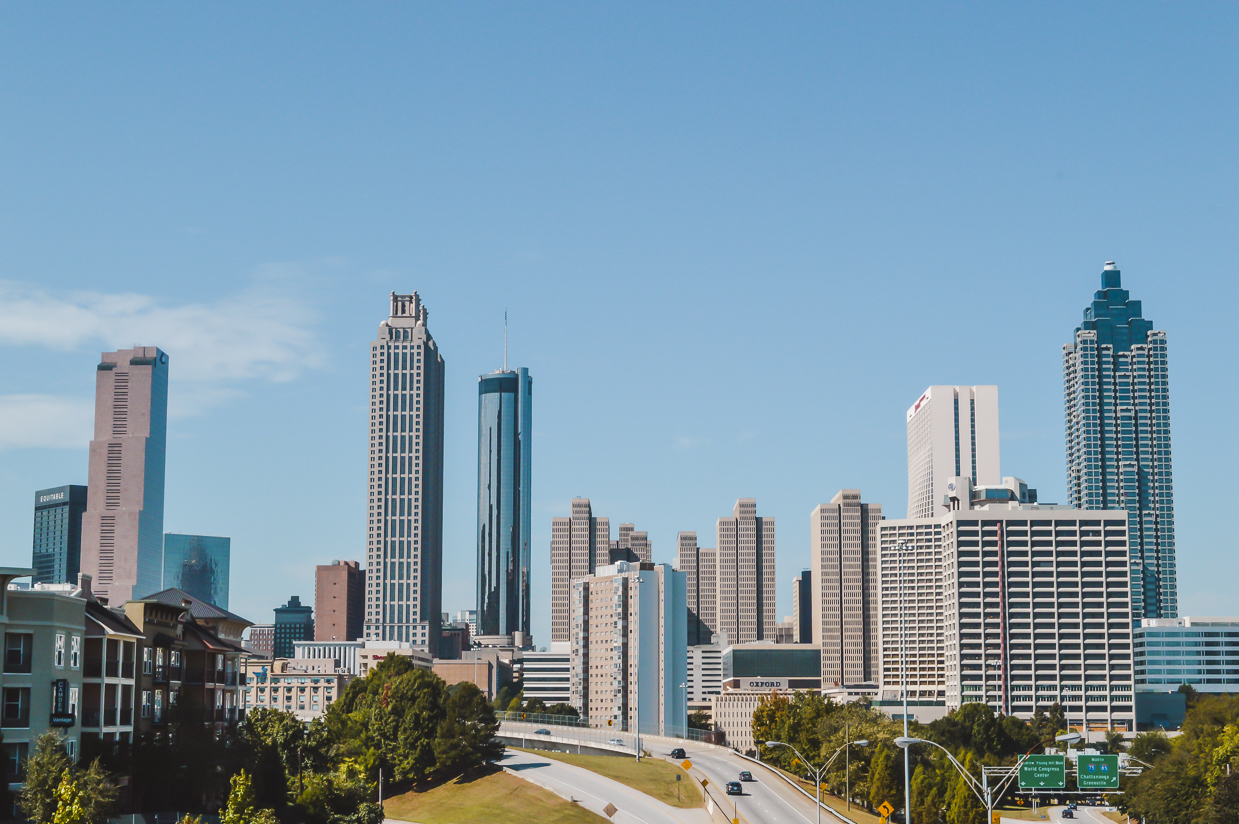 Skyscraper views in Atlanta, Georgia, another place to add to your 3-month North America itinerary.