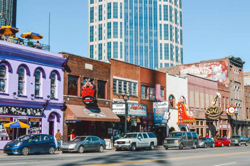 Colourful buildings along Honky Tonk Row in Nashville, Tennessee