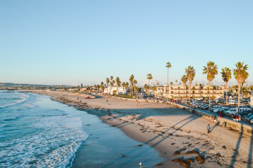 Ocean Beach from the pier in San Diego, California (one of the best places for solo female travel in the US).