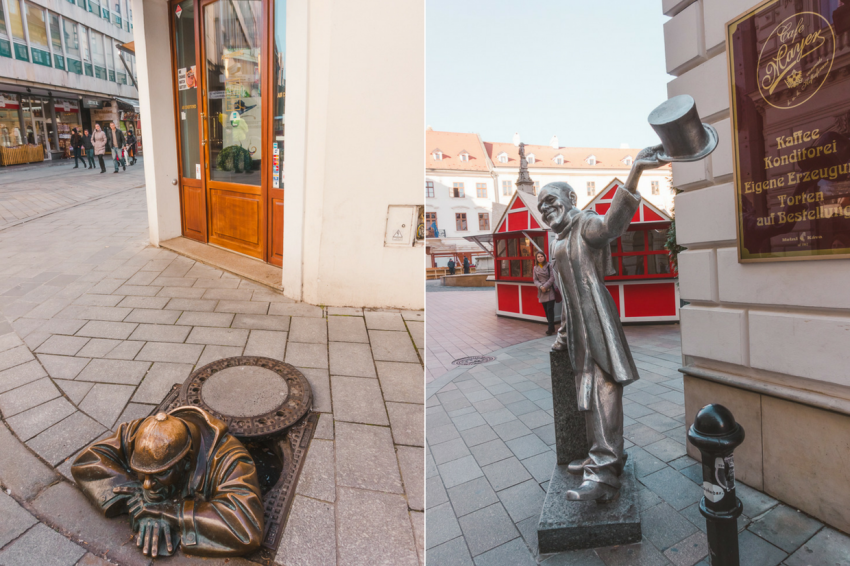Statues in Bratislava, which I saw on a Bratislava day trip from Vienna: a man peeking out of a man hole and another man tipping his top hat.