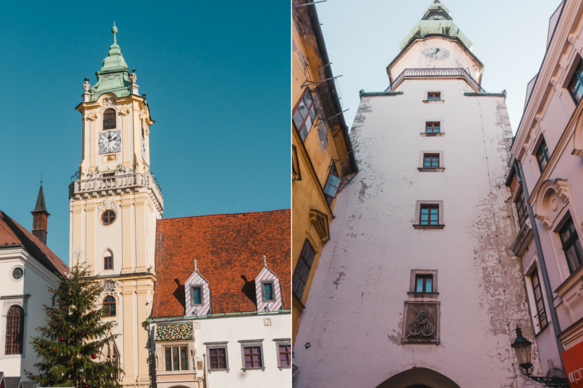 Things to see in the Old Town on a Vienna to Bratislava day trip, including the clock tower of Old Town Hall and Michael's Gate.
