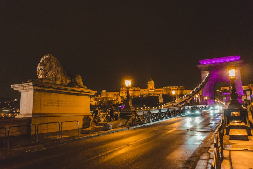 Nighttime at the Chain Bridge in Budapest, Hungary. Budapest should definitely be added to your 10-week Europe itinerary