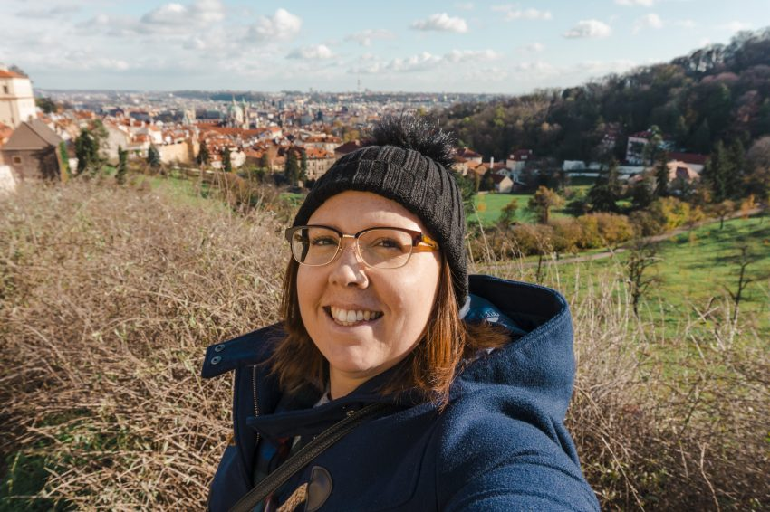 Selfie overlooking Prague from Prague Castle.