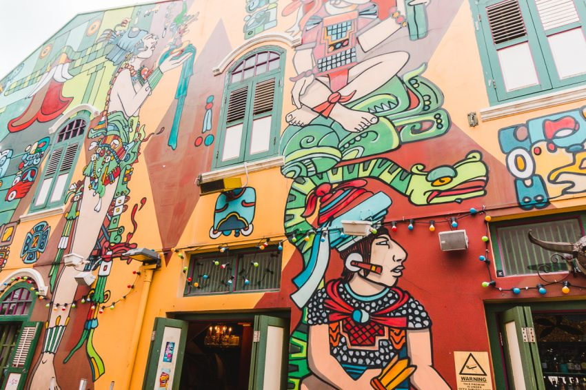 Colourful street art in Haji Lane. Checking it out is one of the best things to do in Singapore.