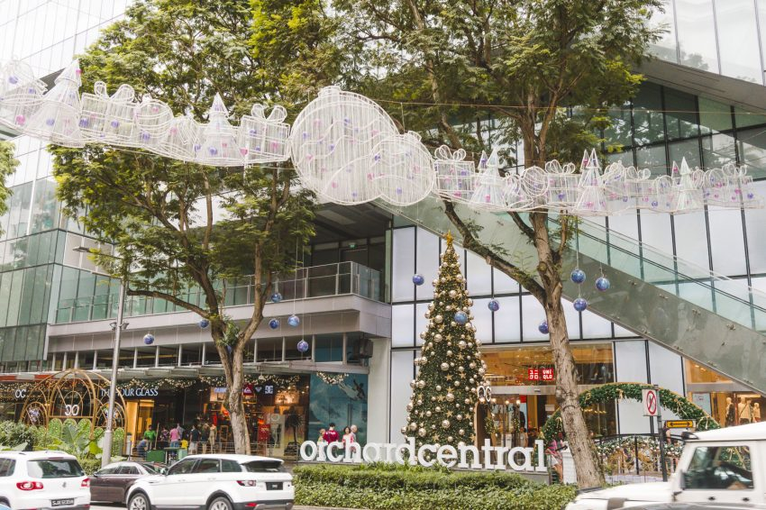 Christmas decorations on Orchard Road in Singapore.