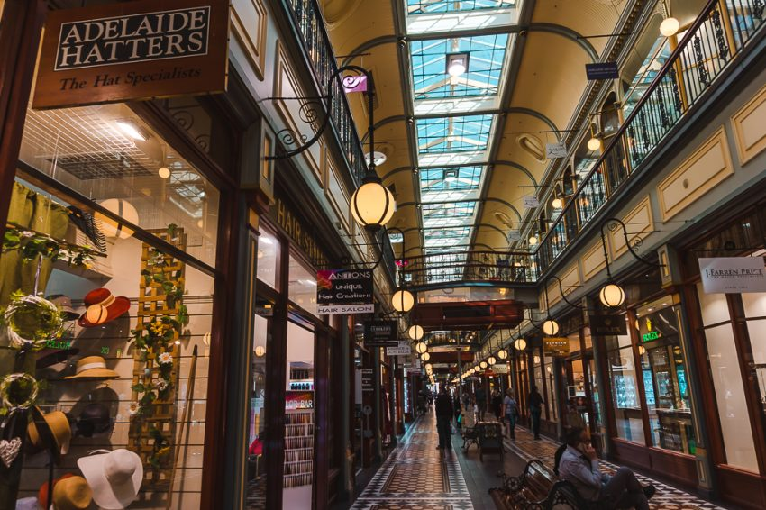 Historic arcade in Adelaide. Shopping is one of the best things to do in Adelaide alone.