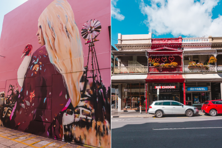 Street art and old terrace houses in Adelaide's East End neighbourhood