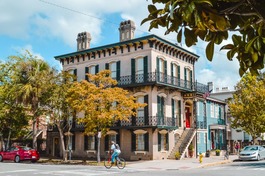 A three-storey building with wrought iron balconies in Savannah, Georgia. Add it to your North America itinerary.