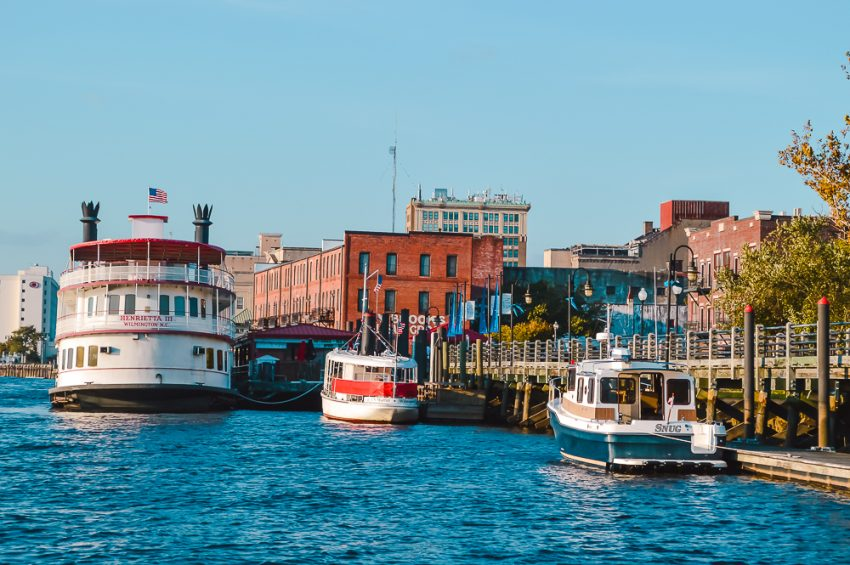 Boats on the riverfront in Wilmington. Wilmington, North Carolina should be added to your North America itinerary.