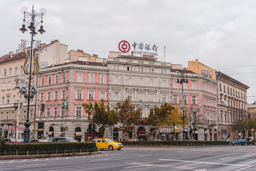 Pink and white buildings along Andrassy Avenue in Budapest, Hungary