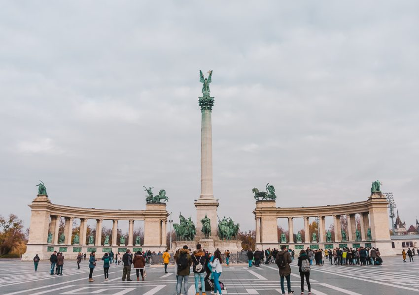Heroes Square in Budapest, Hungary (Budapest long weekend guide).