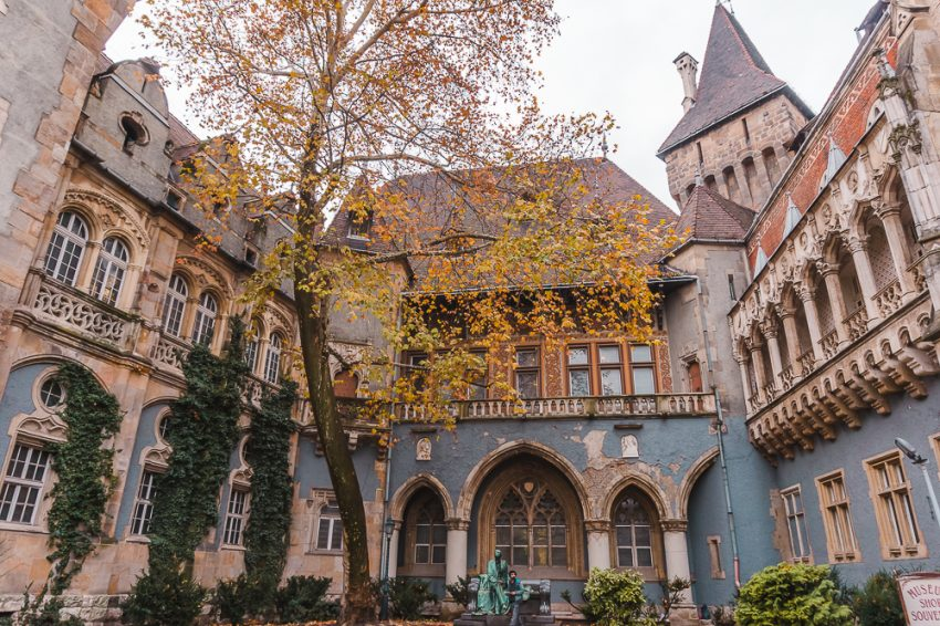 Vajdahunyad Castle in Budapest. Visiting this area is one of the best things to do in Budapest in winter.