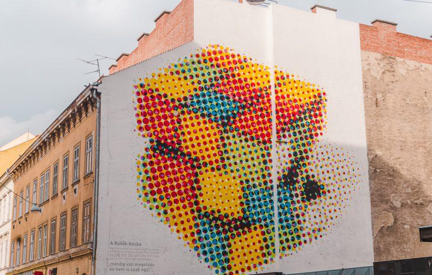 Rubik's Cube street art in Budapest's Jewish Quarter