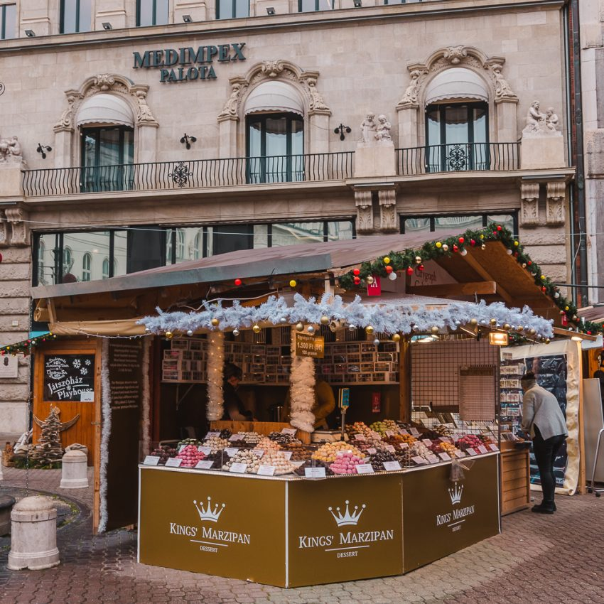 A wooden hut at the Christmas Fair in Budapest - one of the top things to do in Budapest in winter.