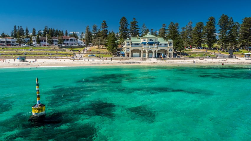 The clear turquoise waters of Cottesloe Beach in Perth, Western Australia, one of Australia's top solo travel destinations.