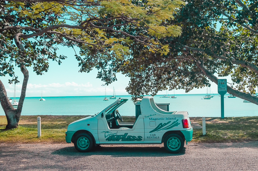 A Barbie car parked in front of the beach in Horseshoe Bay, Magnetic Island. Places to visit in Australia alone: Magnetic Island near Townsville, Queensland