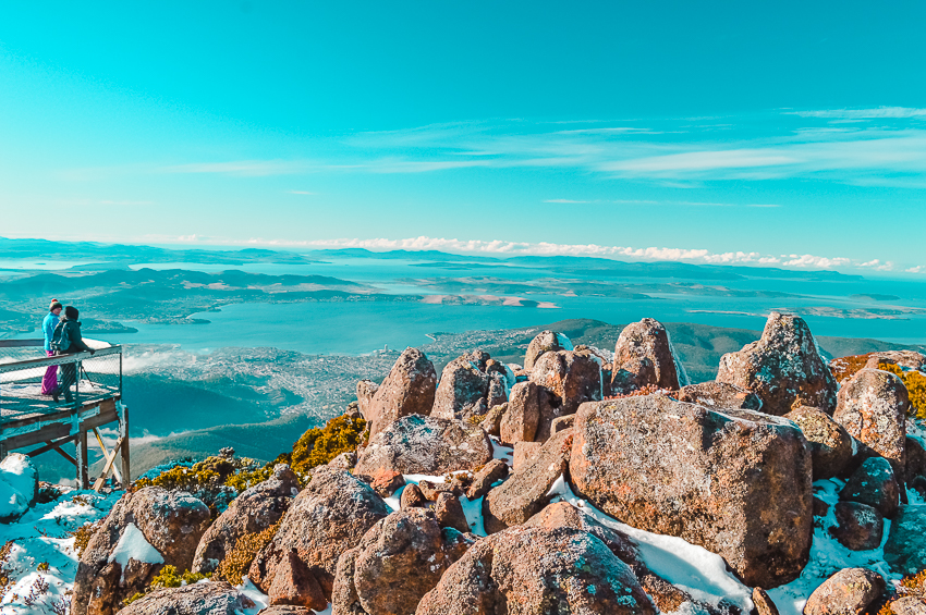 Views from Mount Wellington in Hobart, Tasmania, one of the best places to visit in Australia alone.