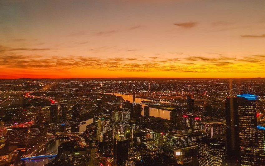 Sunset views of the Melbourne skyline at night from Eureka Skydeck/Eureka Tower in Melbourne, Australia