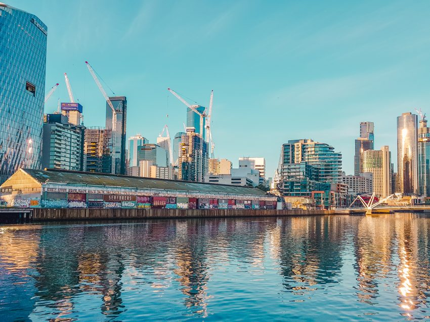 Reflections on the Yarra River in Melbourne, Australia
