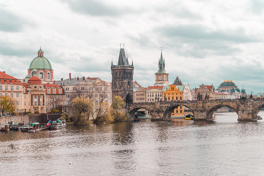 Charles Bridge views in Prague, Czech Republic