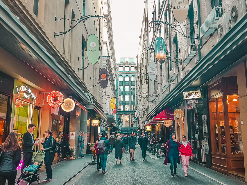 European-style Degraves Street, a laneway in Melbourne.