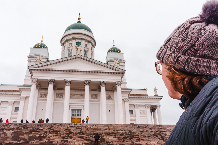 Side-profile of myself looking up towards Helsinki Cathedral in Helsinki, Finland