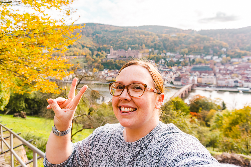 Selfie with Heidelberg's Old Town and mountains behind me - taken with my Sony A5100 Camera.