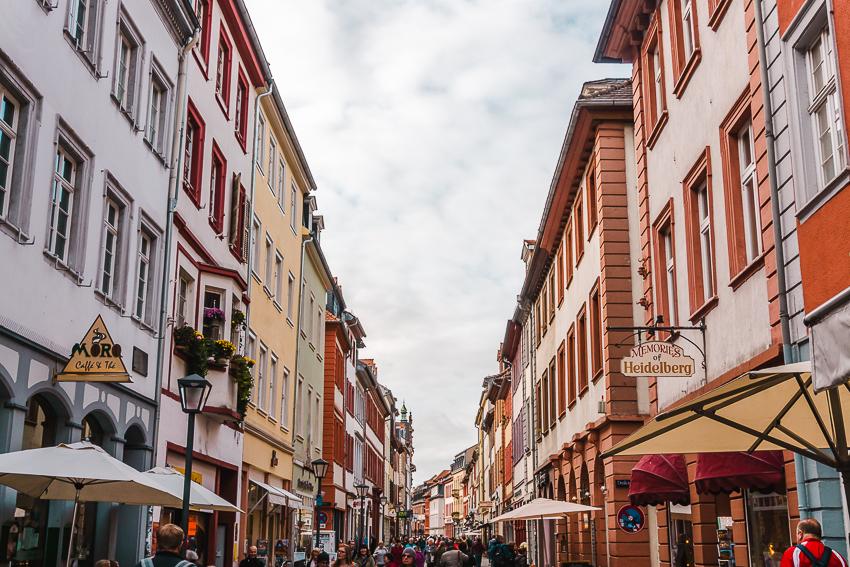 Colourful buildings along Hauptstraβe in Heidelberg, Germany