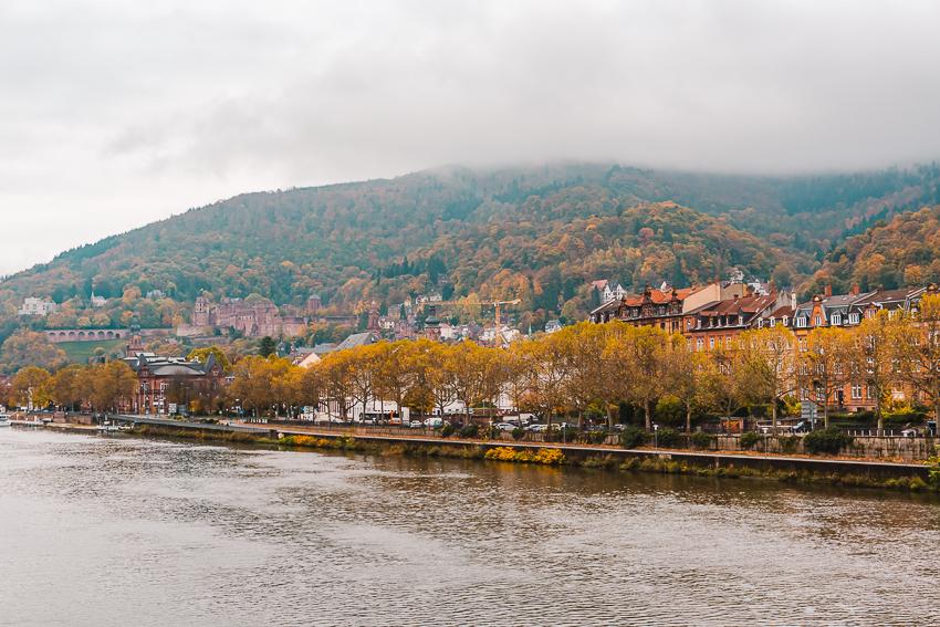 Views from Theodor Heuss Bridge in Heidelberg, Germany