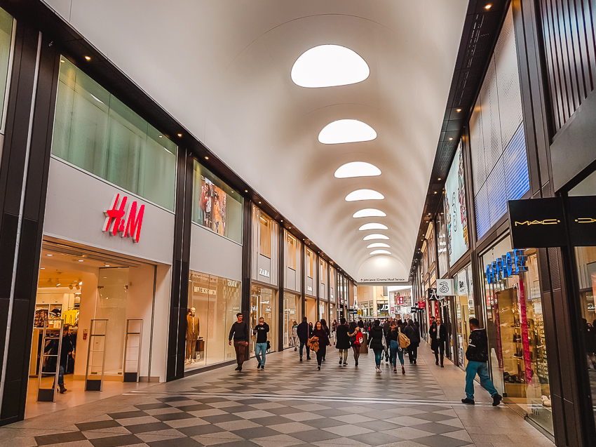 Inside Westgate shopping centre in Oxford, England