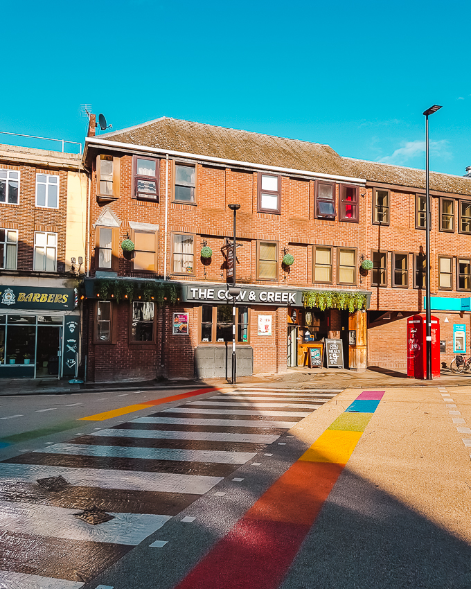 Rainbow-coloured crossing in Oxford, England