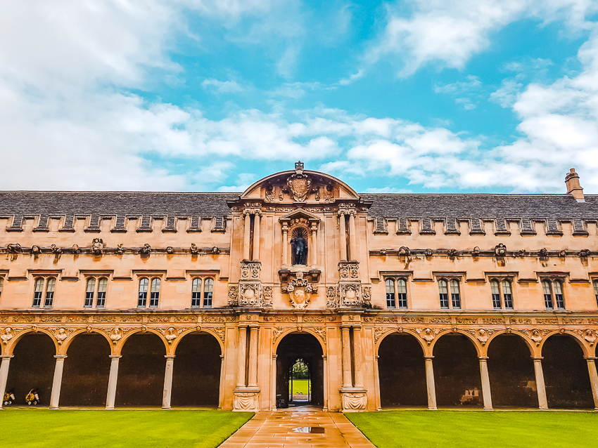 The courtyard at St John's College in Oxford, England